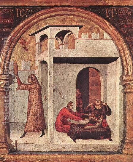 Altar of St Louis of Toulouse (detail) by Simone Martini - Reproduction Oil Painting