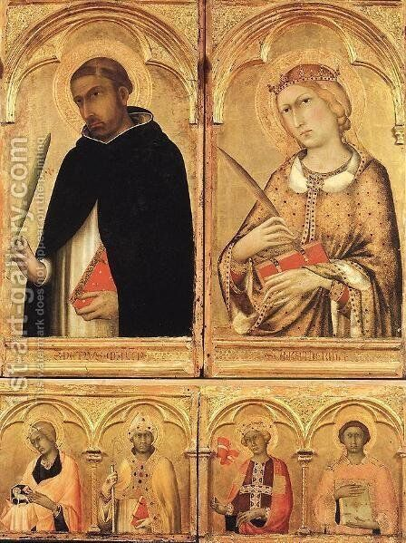 Polyptych of Santa Caterina (detail) 2 by Simone Martini - Reproduction Oil Painting