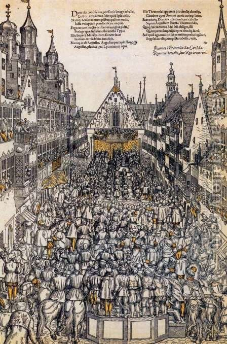 Investiture of the Elector of Saxony in the Weinmarkt, Augsburg by Hans Tirol - Reproduction Oil Painting