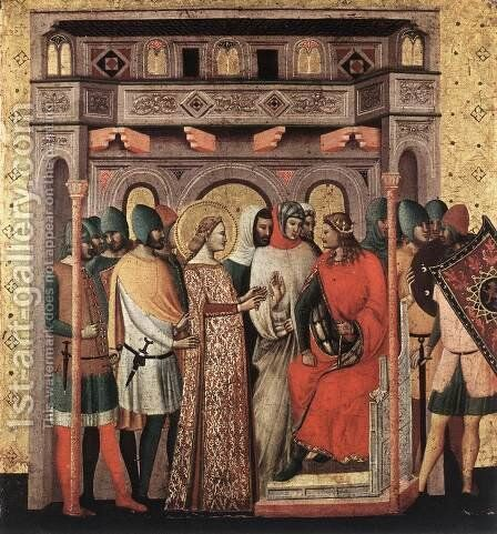 Scenes from the Life of St Colomba (St Colomba before the Emperor) by Italian Unknown Masters - Reproduction Oil Painting