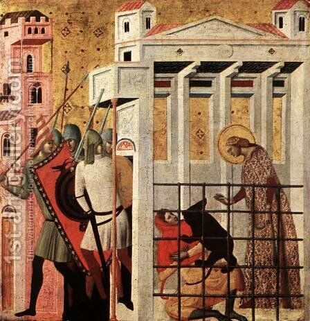 Scenes from the Life of St Colomba (St Colomba Saved by a Bear) by Italian Unknown Masters - Reproduction Oil Painting