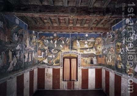 View of the frescoes of Months by Italian Unknown Masters - Reproduction Oil Painting