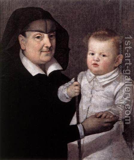 Cosimo II de' Medici with Governess by Italian Unknown Masters - Reproduction Oil Painting