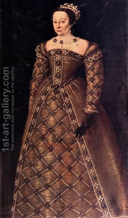 Portrait of Caterina de' Medici by Italian Unknown Masters - Reproduction Oil Painting