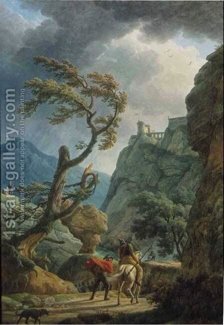 Soldiers in a Mountain Gorge, with a Storm by Claude-joseph Vernet - Reproduction Oil Painting