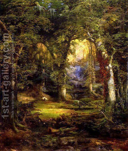 woodland_temple by Thomas Moran - Reproduction Oil Painting