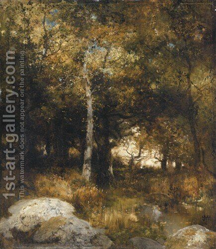 Autumn Wood by Thomas Moran - Reproduction Oil Painting
