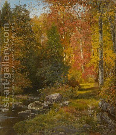 The Woods in Autumn, 1864 by Thomas Moran - Reproduction Oil Painting