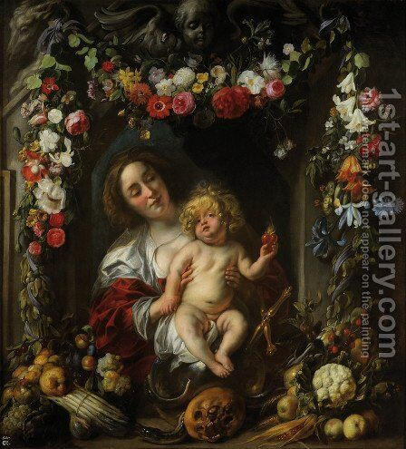 Madonna with child in a flower garland by Jacob Jordaens - Reproduction Oil Painting