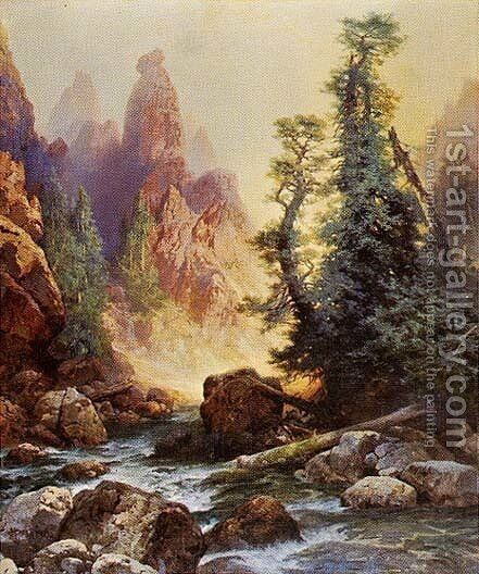 Below the Towers of Tower Falls by Thomas Moran - Reproduction Oil Painting