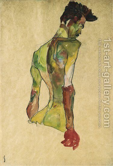Male Nude in Profile Facing Right by Egon Schiele - Reproduction Oil Painting