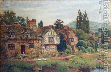 Warwickshire cottage by Sydney Currie - Reproduction Oil Painting