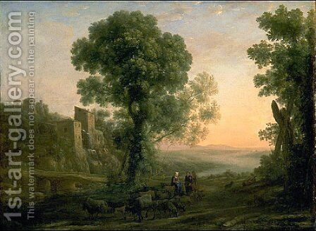 Landscape with Peasants Returning with Their Herds by Claude Lorrain (Gellee) - Reproduction Oil Painting