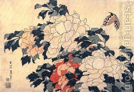 Poenies and butterfly by Katsushika Hokusai - Reproduction Oil Painting