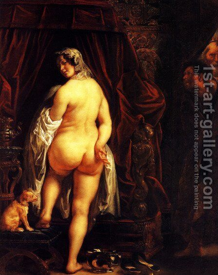 King Candaules of Lydia Showing his Wife to Gyges 2 by Jacob Jordaens - Reproduction Oil Painting