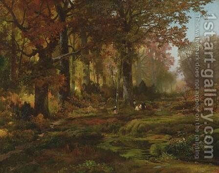 Nutting, Autumn by Thomas Moran - Reproduction Oil Painting
