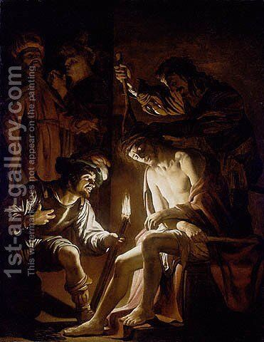 Christ Crowned with Thorns by Gerrit Van Honthorst - Reproduction Oil Painting