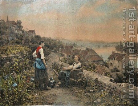 Peasant Girls Along The Seine by Daniel Ridgway Knight - Reproduction Oil Painting