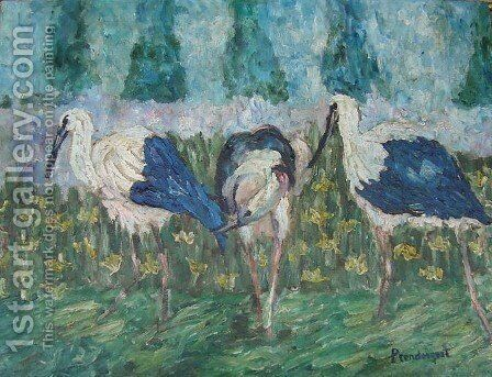 Storks by Maurice Brazil Prendergast - Reproduction Oil Painting