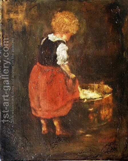 Shredding linen - Sketch of the little girl by Mihaly Munkacsy - Reproduction Oil Painting