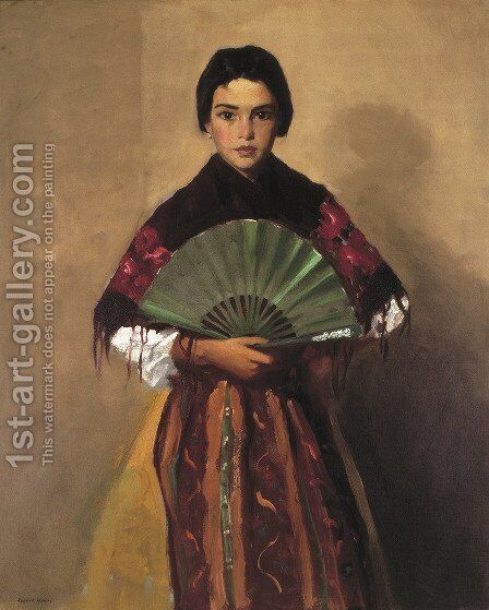 The Green Fan (Girl of Toledo, Spain) by Robert Henri - Reproduction Oil Painting