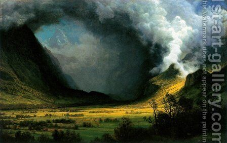 Storm in the mountains by Albert Bierstadt - Reproduction Oil Painting