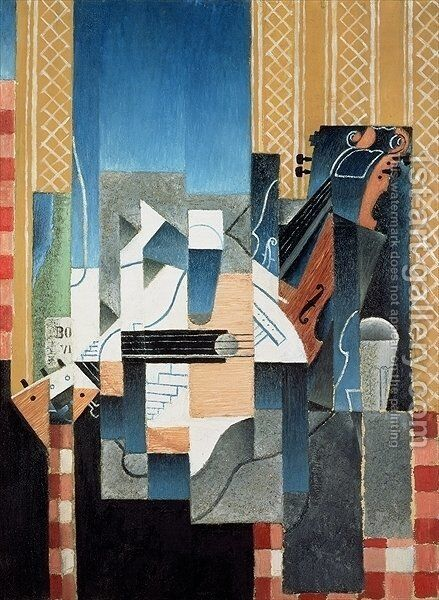 Still Life with Violin and Guitar by Juan Gris - Reproduction Oil Painting