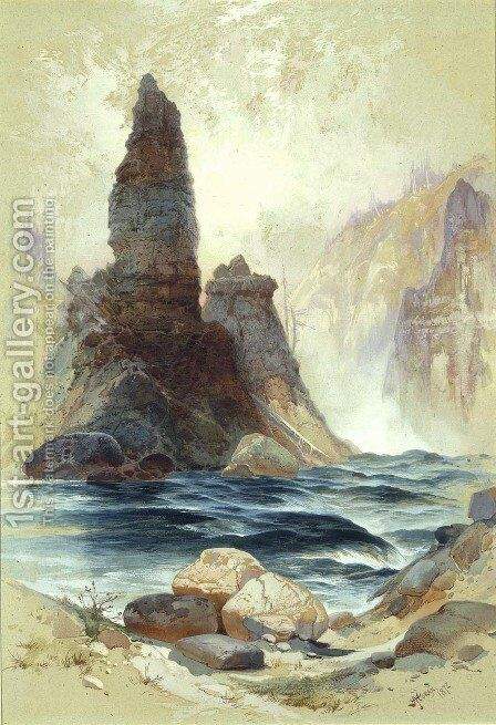Above Tower Falls, Yellowstone by Thomas Moran - Reproduction Oil Painting