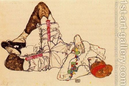 Auf dem Rucken liegende Frau - Woman Lying on Her Bac by Egon Schiele - Reproduction Oil Painting
