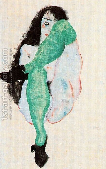 Girl in green stockings by Egon Schiele - Reproduction Oil Painting