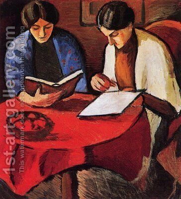 Two Women at the Table by August Macke - Reproduction Oil Painting