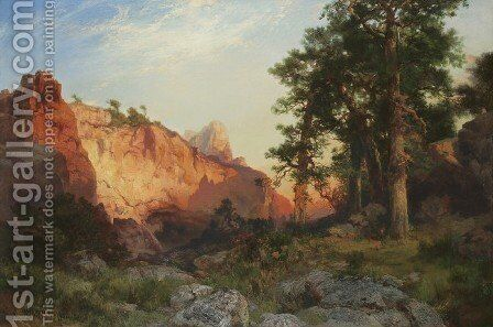 Red Rock, Arizona (Coconino Pines and Cliff, Arizona) by Thomas Moran - Reproduction Oil Painting