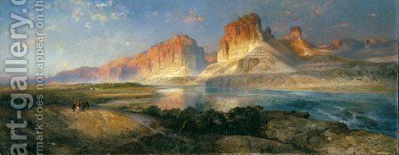Nearing Camp, Evening on the Upper Colorado River by Thomas Moran - Reproduction Oil Painting