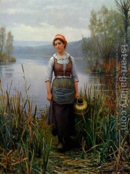 Early Morning on the Oize by Daniel Ridgway Knight - Reproduction Oil Painting