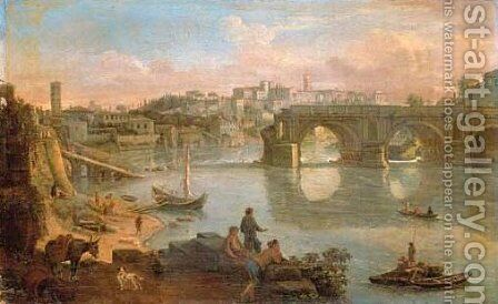 A view of the Tiber with the Ponte Rotto and the Aventi by Caspar Andriaans Van Wittel - Reproduction Oil Painting