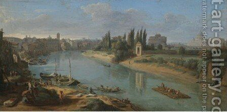 Rome, A View Of The River Tiber At The Porto Della Legna by Caspar Andriaans Van Wittel - Reproduction Oil Painting