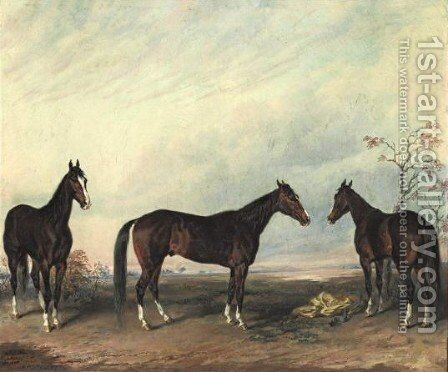 Dexter Represented In Three Positions by Edward Troye - Reproduction Oil Painting