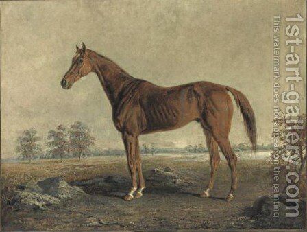 A Chestnut Horse by Edward Troye - Reproduction Oil Painting