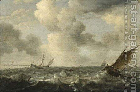 A Smalschip And Other Sailing Vessels On Stormy Waters by Simon De Vlieger - Reproduction Oil Painting