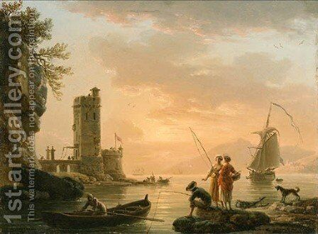 Fishermen and women on a river bank in sunset by Claude-joseph Vernet - Reproduction Oil Painting