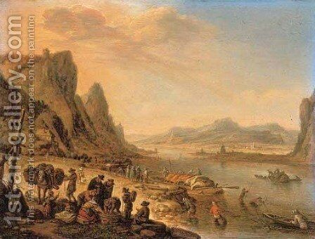 A Rhenish landscape with fishermen and peasants on a river bank by Herman Saftleven - Reproduction Oil Painting