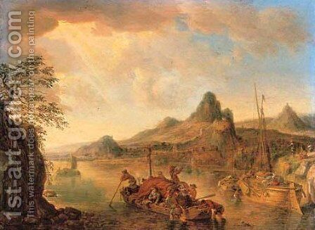 A Rhenish landscape with a loaded boat in the foreground, a town beyond by Herman Saftleven - Reproduction Oil Painting