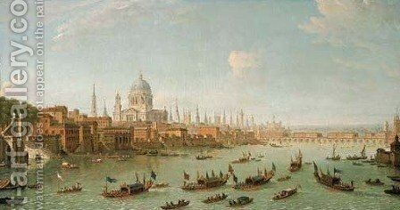 View of the City of London from the Thames with St. Pauls Cathedral of boats on the river in the foreground by Antonio Joli - Reproduction Oil Painting