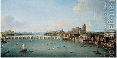 The Thames Looking Towards Westminster by Antonio Joli - Reproduction Oil Painting