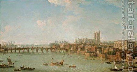 View of the City of London from the Thames with Old London Bridge, a procession of boats on the river in the foreground by Antonio Joli - Reproduction Oil Painting