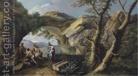 A Rocky Landscape With A Horseman And Brigands By A Path by Andrea Locatelli - Reproduction Oil Painting