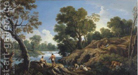 A River Landscape With A Shepherd And Other Figures Resting On A Rocky Bank by Andrea Locatelli - Reproduction Oil Painting