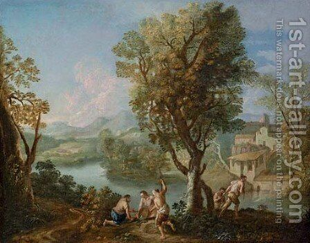 An Italianate river landscape with fishermen on a bank by Andrea Locatelli - Reproduction Oil Painting