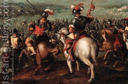 A meeting between two leaders on horseback, a cavalry battle beyond by Hans Von Aachen - Reproduction Oil Painting