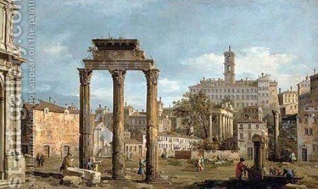 Rome The Forum with the Temple of Castor and Pollux by Bernardo Bellotto (Canaletto) - Reproduction Oil Painting